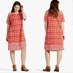 Lucky Brand Shift T-Shirt Style Tile Print Dress
